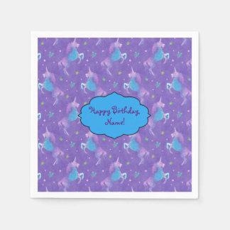 Purple Unicorns Pink Stars Paper Napkins