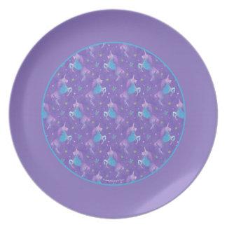 Purple Unicorns Pink Stars Purple Border Dinner Plates