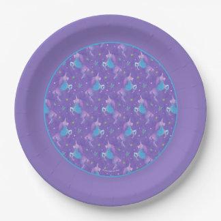 Purple Unicorns Pink Stars Purple Border Paper Plate