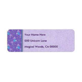 Purple Unicorns Pink Stars Return Address Label