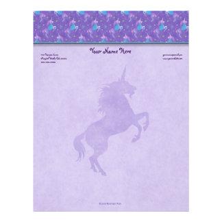 Purple Unicorns Pink Stars Silhouette Letterhead