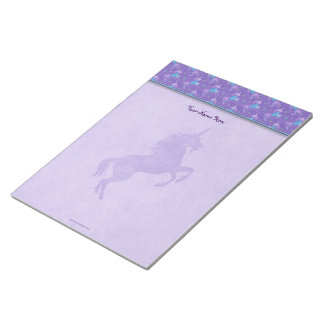 Purple Unicorns Pink Stars Silhouette Notepad