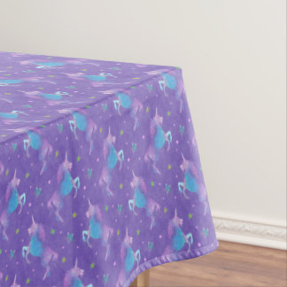 Purple Unicorns Pink Stars Tablecloth