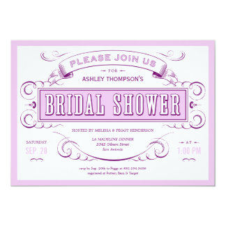 Purple Unique Vintage Bridal Shower Invitations