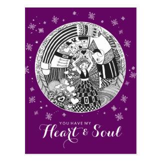 Purple Valentine Heart & Soul Nutcracker Love Postcard