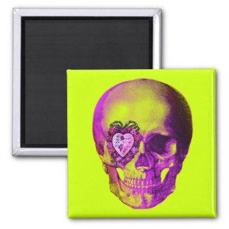 Purple Valentine Skull Square Magnet