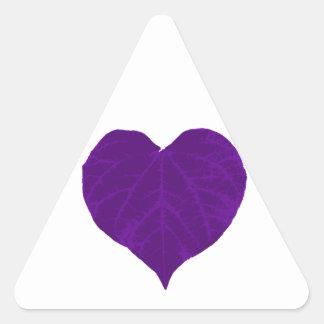 Purple Valentine's Heart Leaf Triangle Sticker