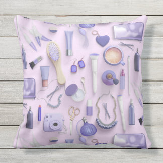 Purple Vanity Table Outdoor Pillow