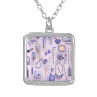 Purple Vanity Table Silver Plated Necklace