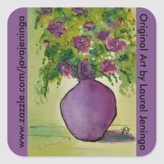 Purple Vase of Purple Flowers Original Watercolor Square Sticker