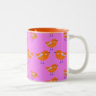 Purple Vector pattern of cute  Birds Two-Tone Coffee Mug