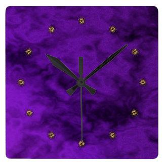purple velvet square wall clock