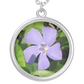 Purple Vinca Silver Plated Necklace