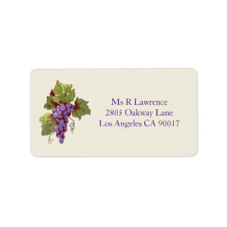 Purple Vineyard Grapes Address Labels