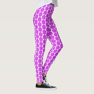 Purple Vintage Abstract Round Flower Design Leggings