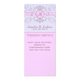 Purple Vintage Church Wedding Programs 4x9.25 Paper Invitation Card