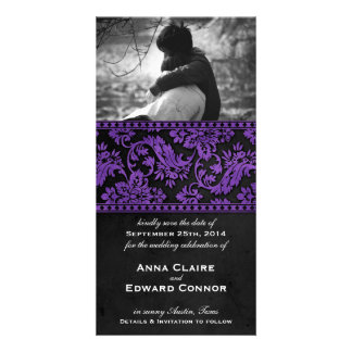 Purple Vintage Damask Lace Save the Date Picture Card