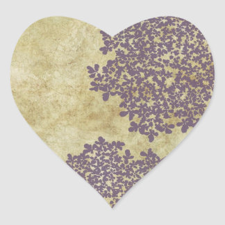 Purple Vintage Floral Envelope Seal Heart Stickers