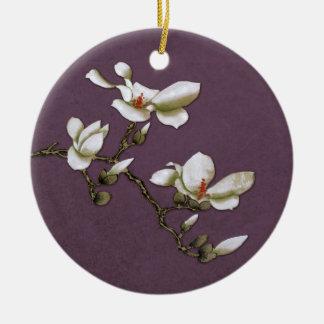Purple Vintage Floral Magnolia Ceramic Ornament