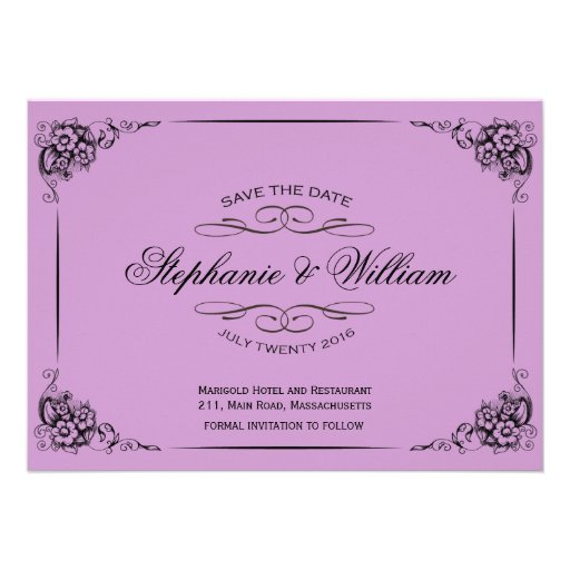 Purple Vintage Floral Save The Date Card