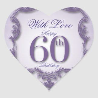 Purple Vintage Frame 60th birthday Heart Sticker