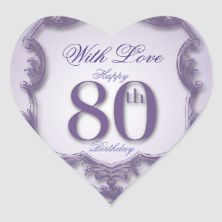 Purple Vintage Frame 80th birthday Heart Sticker