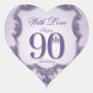 Purple Vintage Frame 90th birthday Heart Sticker