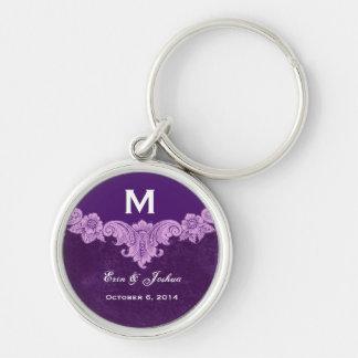 Purple Vintage Frame Custom Monogram Wedding Keychain