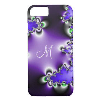 Purple Vintage Geometric Fractal Monogram iPhone 8/7 Case