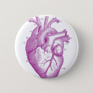 Purple Vintage Heart Anatomy 2 Inch Round Button
