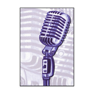 Purple Vintage Microphone Canvas Print