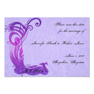 "Purple Vintage Peacock Save the Date 3.5"" X 5"" Invitation Card"