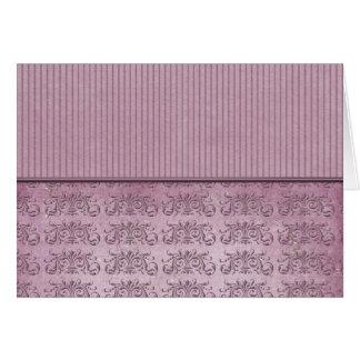 Purple Vintage Stripe and Damask Card