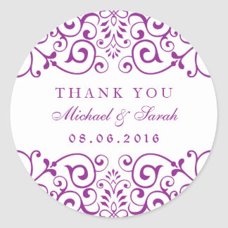 Purple Vintage Swirl Floral Thank You Stickers
