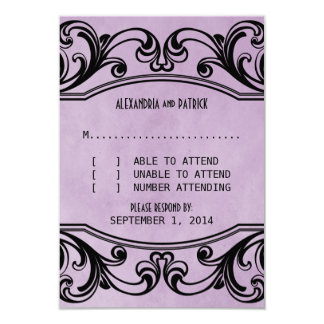Purple Vintage Swirls Response Card Custom Announcements