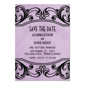 Purple Vintage Swirls Save the Date Invite