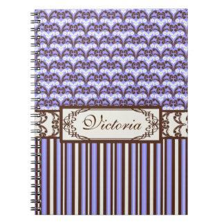 Purple Vintage Victorian Wild West Elegant Damask Notebooks