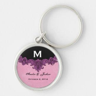 Purple Vintage Wedding Custom Monogram Celebration Silver-Colored Round Keychain