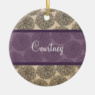 Purple Vintage Zinnia Ornament
