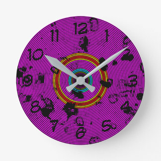 Purple Vinyl Disc Texture Pattern Round Clock