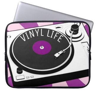 Purple Vinyl Life Retro Turntable Laptop Sleeves