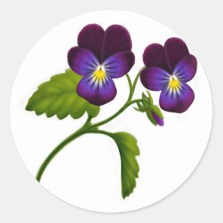 Purple Viola Pansy Flowers Classic Round Sticker