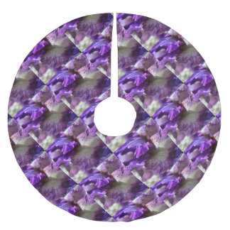 Purple, Violet and Mauve Iris Abstract Brushed Polyester Tree Skirt