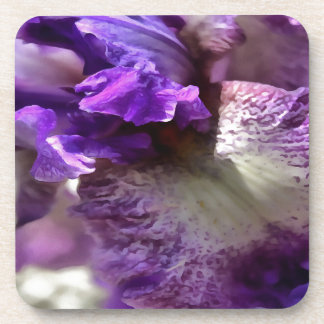 Purple, Violet and Mauve Iris Abstract Coaster