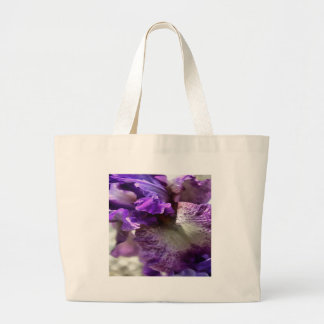 Purple, Violet and Mauve Iris Abstract Large Tote Bag