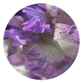 Purple, Violet and Mauve Iris Abstract Party Plate