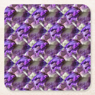 Purple, Violet and Mauve Iris Abstract Square Paper Coaster