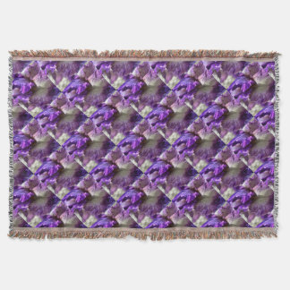 Purple, Violet and Mauve Iris Abstract Throw Blanket
