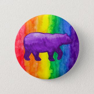 Purple Violet Bear on Rainbow Wash Buttons