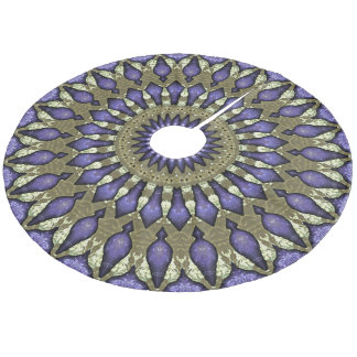 Purple Violet Faux Gold Black Mandala Star Pattern Fleece Tree Skirt